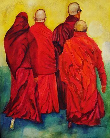 Bhutanese Monks Leaving by Carlos Giordano Giroldi