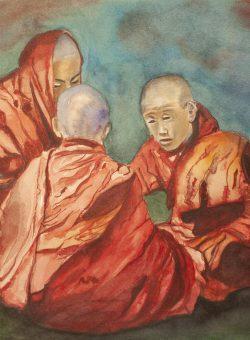Bhutanese Monks Seated by Carlos Giordano Giroldi