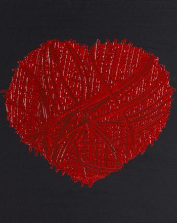 Red Eyes (oil on Canvas 40 x 40h) 2020 hd OC2011 m