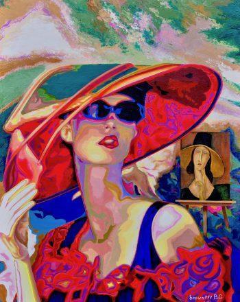 Lady brown777 e lady Jeanne - Omaggio a Modigliani- Acilici su tela 60x80- 2019 Greco