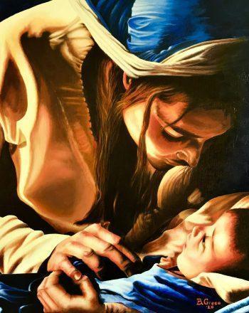 Maternità - Olio su tela 60x60 - 2020 Greco