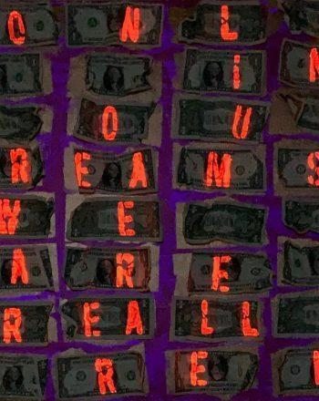 ROBERTA BISSOLI - DREAMS (fuxia&gold) only in our dreans we are really freey 60x60 - 2020 night
