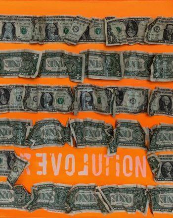 ROBERTA BISSOLI - REVOLUTION ORANGE all you need is love 50x50 2020 day