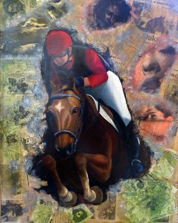 il sogno del fantino olio e collage su tela 80 x 60 cm