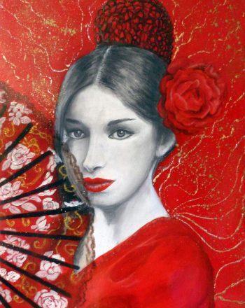 v.di un flamenco,grafite e smalti su tavola 70 x 50 cm
