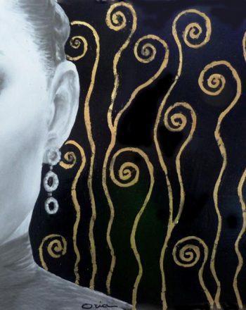 vib eleganti grafite, foglia oro e argento, smalti su tavola 40 x 60 cm